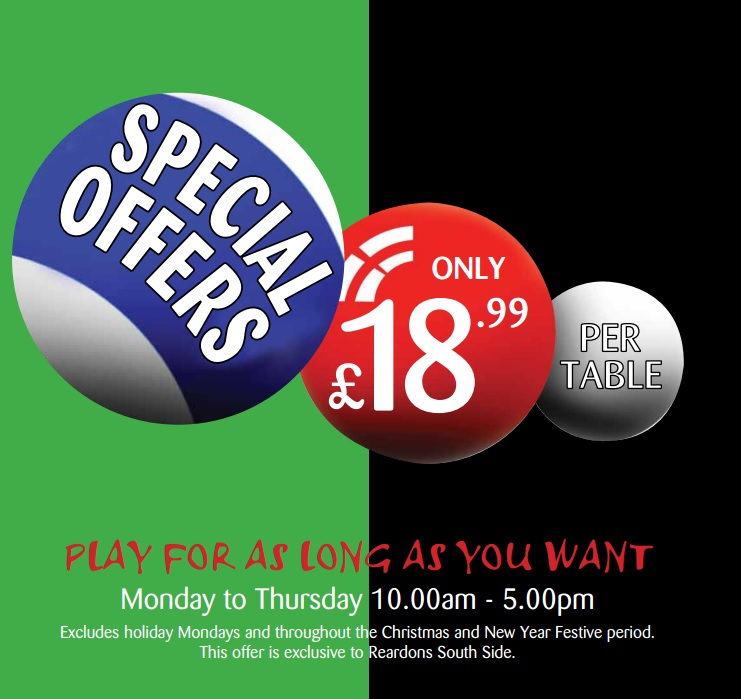 £18.99 per table Monday - Thursday from 10am to 5pm